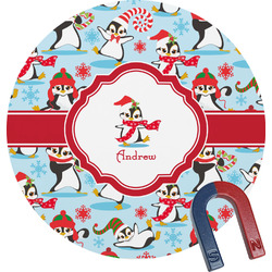 Christmas Penguins Round Magnet (Personalized)