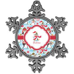 Christmas Penguins Vintage Snowflake Ornament (Personalized)