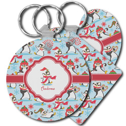 Christmas Penguins Plastic Keychains (Personalized)