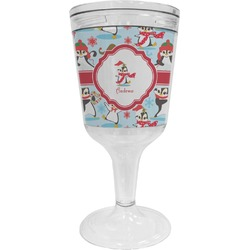 Christmas Penguins Wine Tumbler - 11 oz Plastic (Personalized)