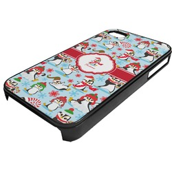 Christmas Penguins Plastic 4/4S iPhone Case (Personalized)
