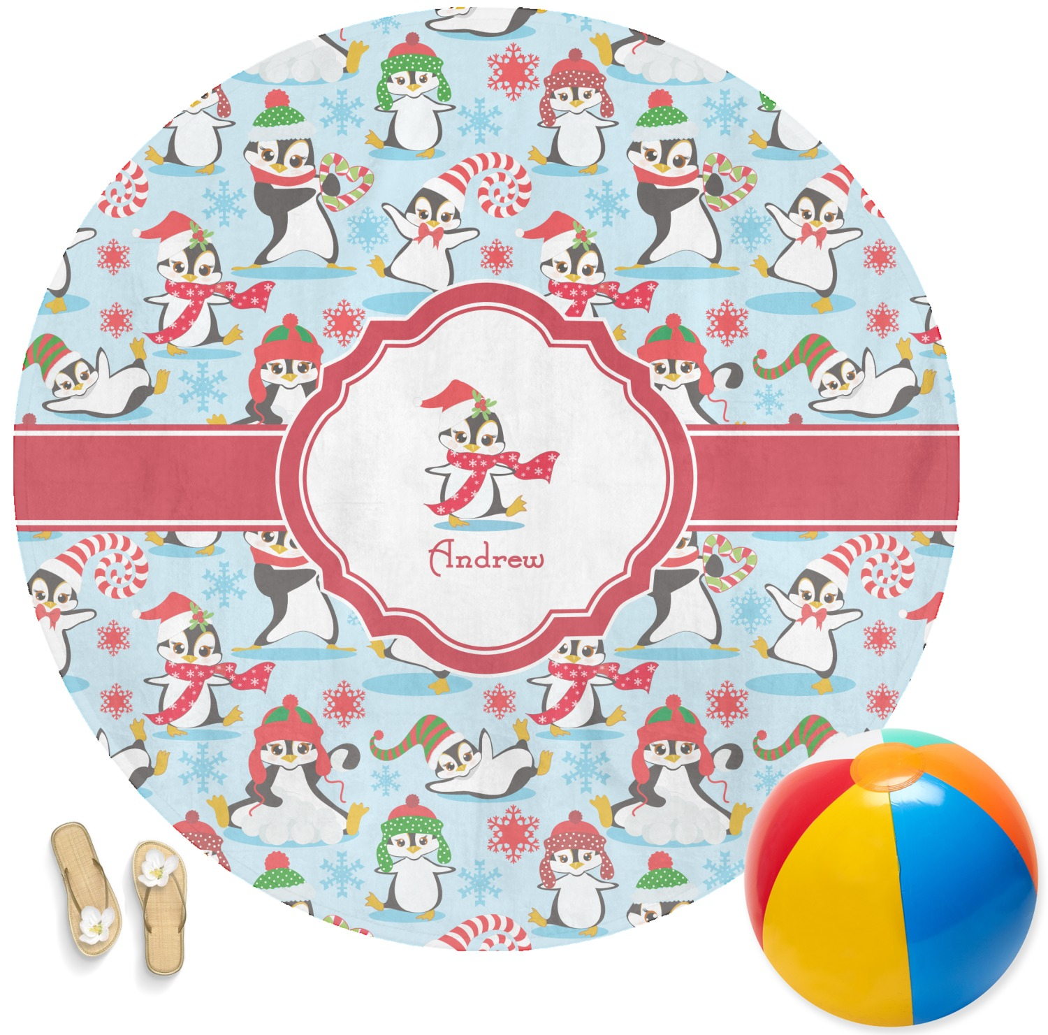Christmas Penguins Round Beach Towel Personalized