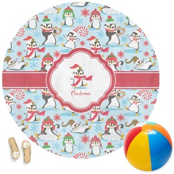 Christmas Penguins Round Beach Towel (Personalized)
