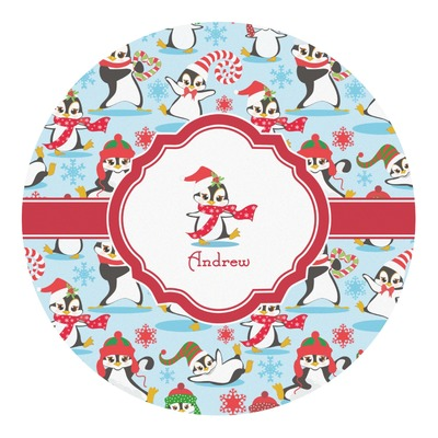 Christmas Penguins Round Decal (Personalized)