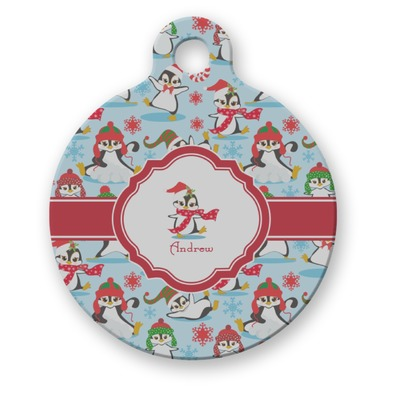 Christmas Penguins Round Pet ID Tag (Personalized)
