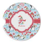 Christmas Penguins Sandstone Car Coasters (Personalized)