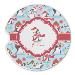 Christmas Penguins Sandstone Car Coaster - Single (Personalized)