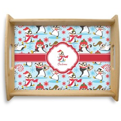 Christmas Penguins Natural Wooden Tray - Large (Personalized)