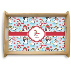 Christmas Penguins Natural Wooden Tray (Personalized)