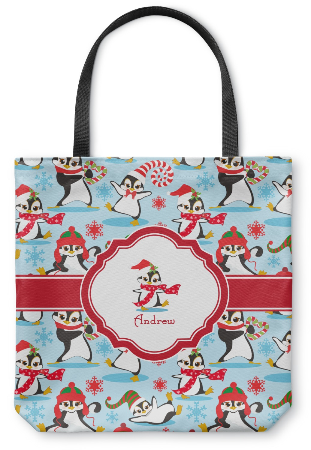 Christmas penguins canvas tote bag personalized