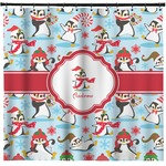 Christmas Penguins Shower Curtain (Personalized)