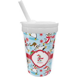 Christmas Penguins Sippy Cup with Straw (Personalized)