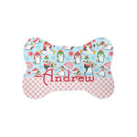 Christmas Penguins Bone Shaped Dog Food Mat (Small) (Personalized)