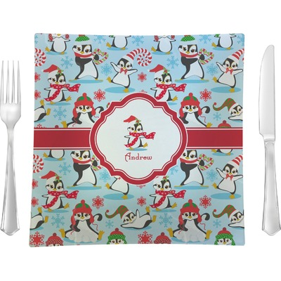 """Christmas Penguins 9.5"""" Glass Square Lunch / Dinner Plate- Single or Set of 4 (Personalized)"""
