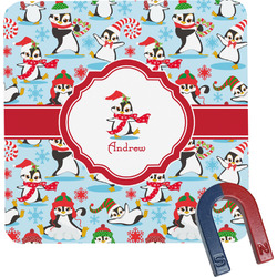 Christmas Penguins Square Fridge Magnet (Personalized)