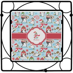 Christmas Penguins Square Trivet (Personalized)