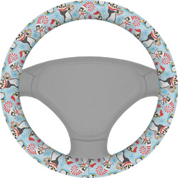 Christmas Penguins Steering Wheel Cover (Personalized)