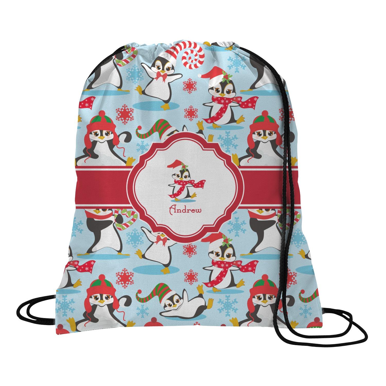 Christmas penguins drawstring backpack small