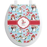 Christmas Penguins Toilet Seat Decal (Personalized)