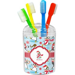 Christmas Penguins Toothbrush Holder (Personalized)