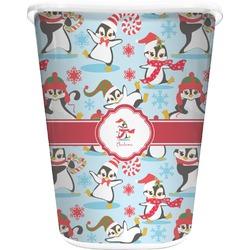 Christmas Penguins Waste Basket - Double Sided (White) (Personalized)