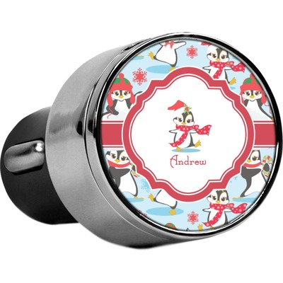 Christmas Penguins USB Car Charger (Personalized)
