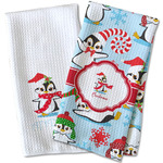 Christmas Penguins Waffle Weave Kitchen Towel (Personalized)