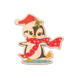Christmas Penguins Genuine Wood Sticker (Personalized)