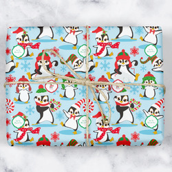 Christmas Penguins Wrapping Paper (Personalized)
