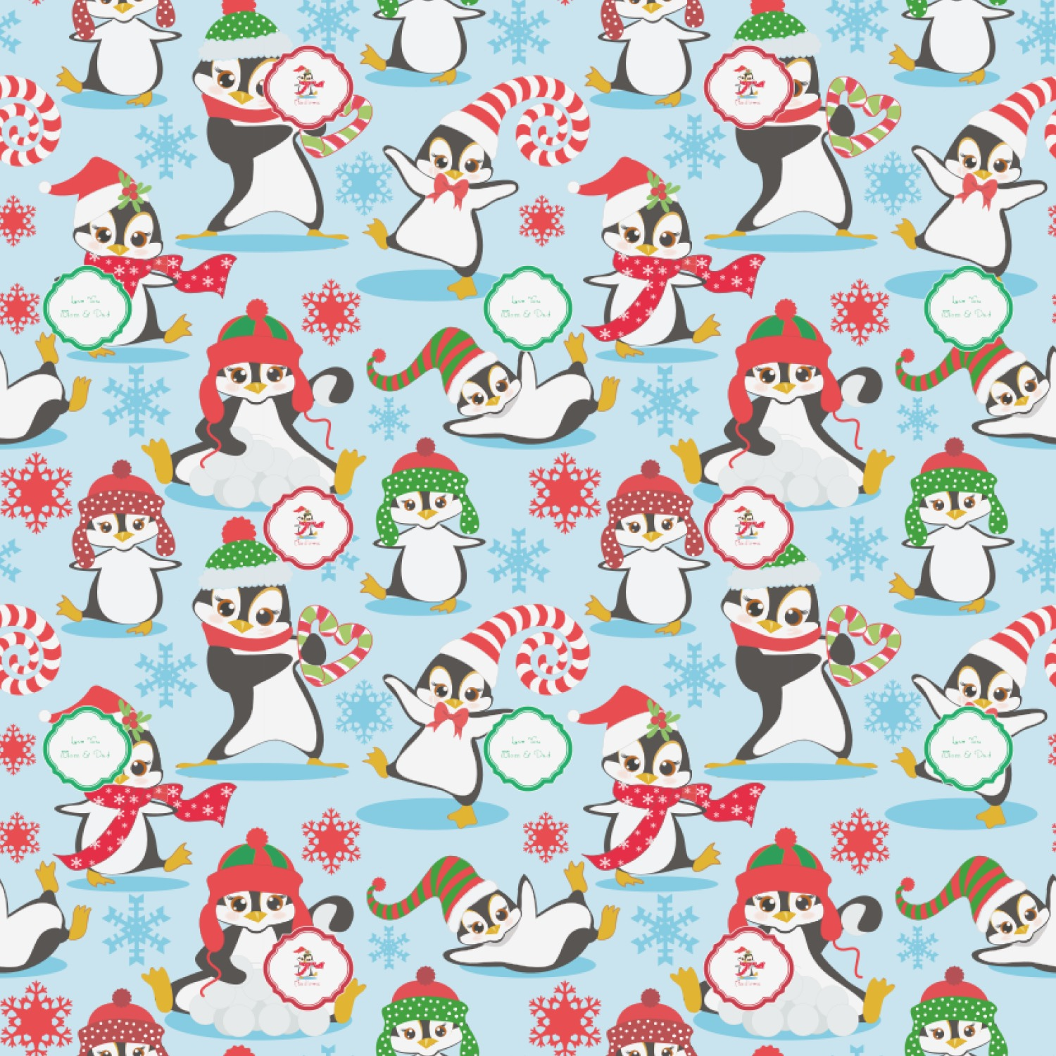christmas penguins wrapping paper personalized youcustomizeit
