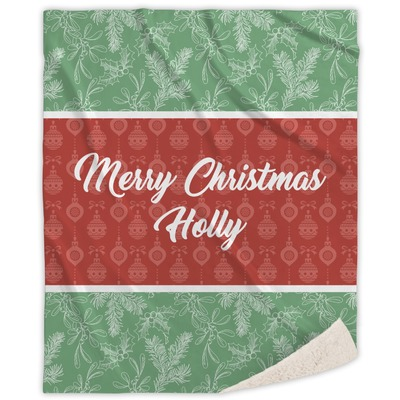 Christmas Holly Sherpa Throw Blanket (Personalized)