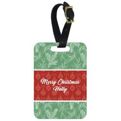 Christmas Holly Metal Luggage Tag w/ Name or Text