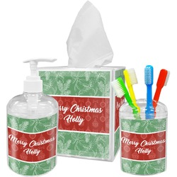 Christmas Holly Acrylic Bathroom Accessories Set w/ Name or Text