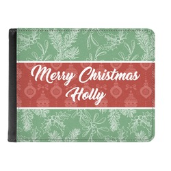 Christmas Holly Genuine Leather Men's Bi-fold Wallet (Personalized)