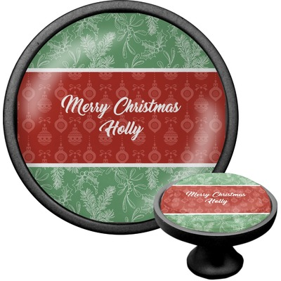 Christmas Holly Cabinet Knob (Black) (Personalized)