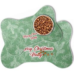 Christmas Holly Bone Shaped Dog Food Mat (Personalized)