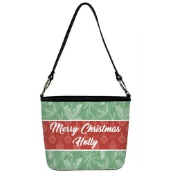 Christmas Holly Bucket Bag w/ Genuine Leather Trim (Personalized)