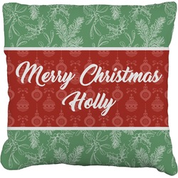 Christmas Holly Faux-Linen Throw Pillow (Personalized)