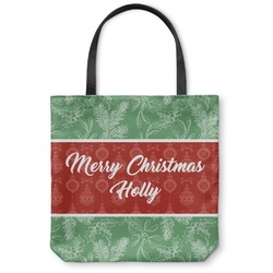 Christmas Holly Canvas Tote Bag (Personalized)