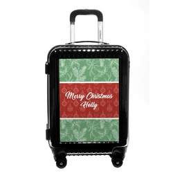 Christmas Holly Carry On Hard Shell Suitcase (Personalized)