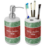 Christmas Holly Ceramic Bathroom Accessories Set (Personalized)