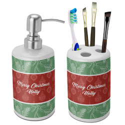 Christmas Holly Bathroom Accessories Set (Ceramic) (Personalized)