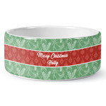 Christmas Holly Ceramic Dog Bowl (Personalized)