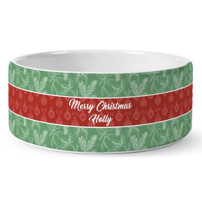 Christmas Holly Ceramic Dog Bowl (Personalized)