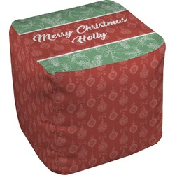 Christmas Holly Cube Pouf Ottoman (Personalized)