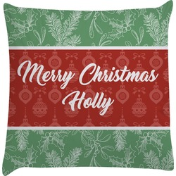 Christmas Holly Decorative Pillow Case (Personalized)