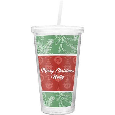 Christmas Holly Double Wall Tumbler with Straw (Personalized)