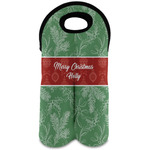 Christmas Holly Wine Tote Bag (2 Bottles) (Personalized)