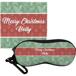 Christmas Holly Eyeglass Case & Cloth (Personalized)