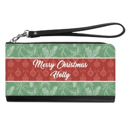 Christmas Holly Genuine Leather Smartphone Wrist Wallet (Personalized)